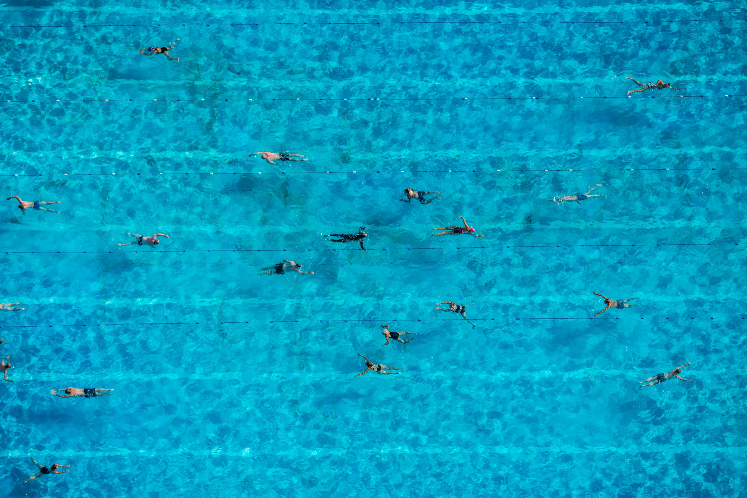 Aerial vew of swimming pool, Brockwell Park Lido. London