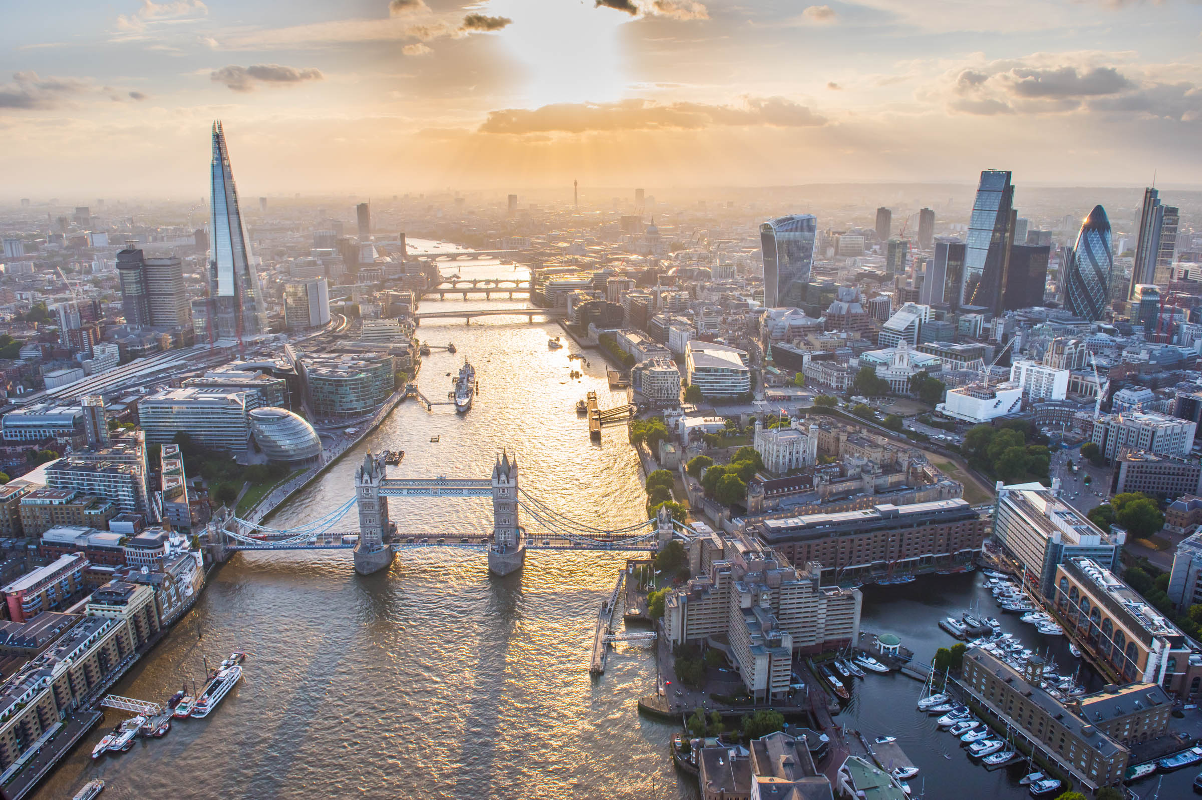 Tower Bridge, Tower of London, City of London and River Thames, London, aerial view