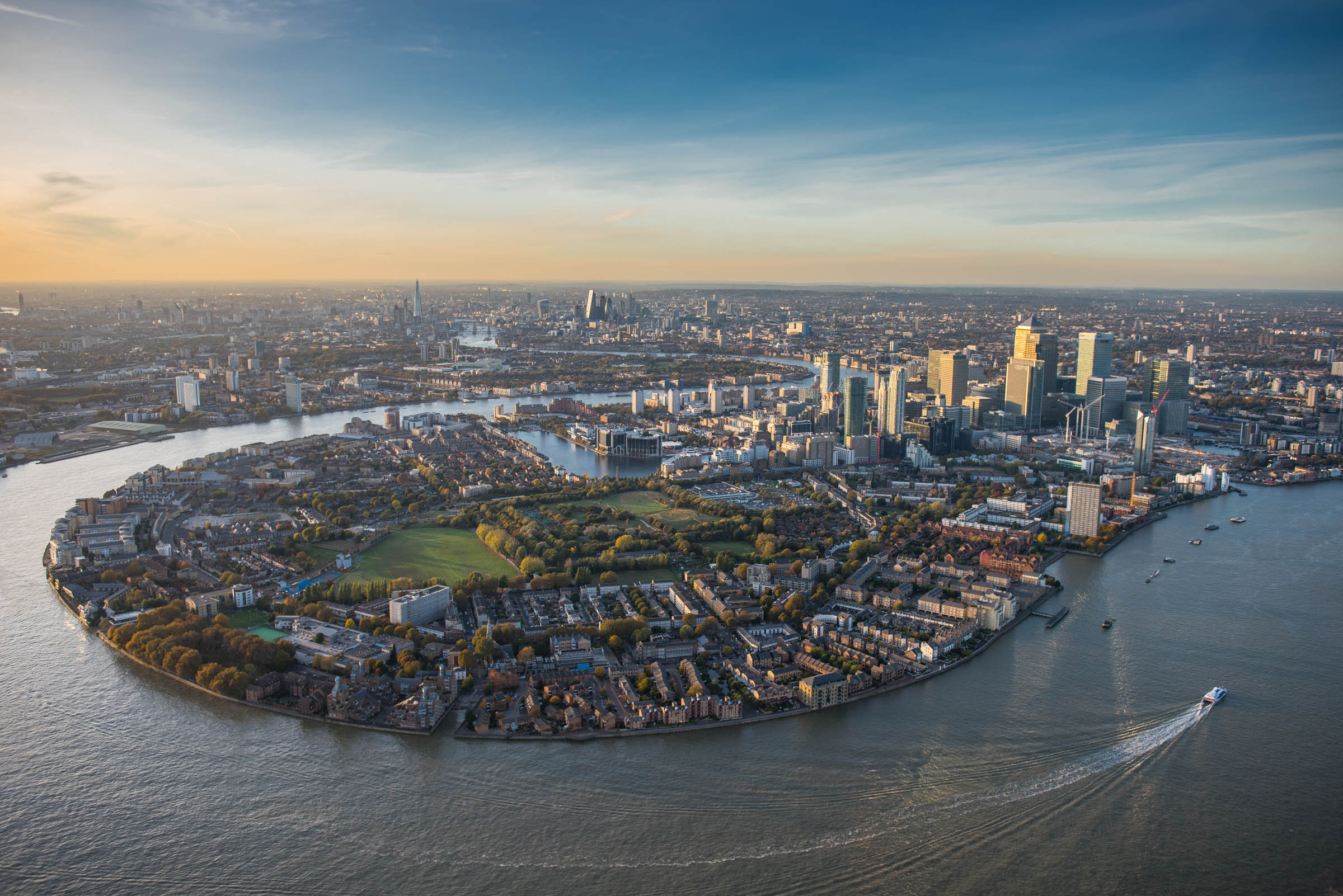 Isle of Dogs, Canary Wharf, London aerial view